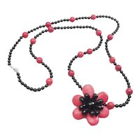 Amazing long sterling silver clasp onyx and dyed coral flower necklace by AIL