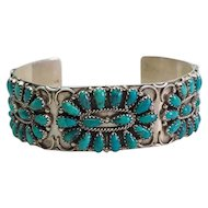 Vintage Native American turquoise sterling silver bracelet by Gerald Mitchell