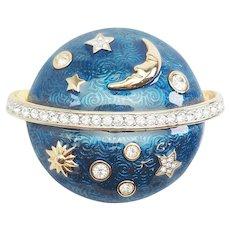 Authentic Swan Swarovski blue enamel crystal Celestial space planet pin brooch