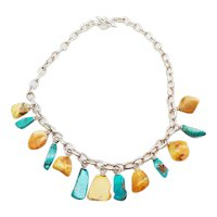 Gorgeous genuine amber turquoise nuggets on heavy sterling silver chain necklace