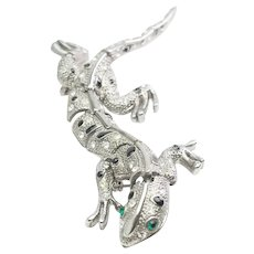 Amazing sectioned kinetic rhinestones and silver tone metal lizard reptile pin