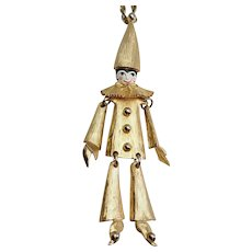 Polcini vintage kinetic articulated dancing Harlequin Clown Pierrot necklace pin