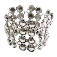 Beautiful vintage heavy wide sterling silver bracelet
