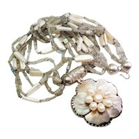 Amazing large handmade sterling silver pearl smoky quartz flower necklace