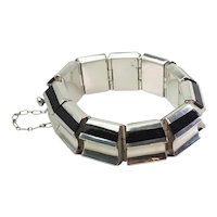 Superb large sterling silver and onyx modern shape heavy bracelet Mexico
