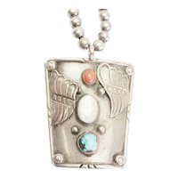 Gorgeous Native American large sterling silver necklace with turquoise coral