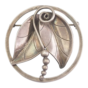 Gorgeous vintage International Sterling leaf pin by Alfonso La Paglia