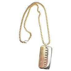 Vintage two tone metal abstract high fashion necklace by Lanvin