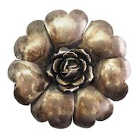 Vintage sterling silver designer flower pin brooch by Legro