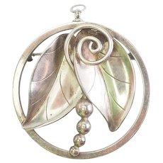 Modern floral sterling silver pin pendant Alfonso La Paglia International Silver
