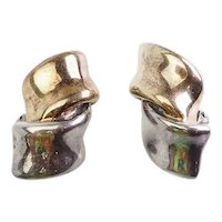Gorgeous abstract modern sterling silver designer clip on earrings