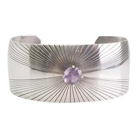 Vintage sterling silver and amethyst wide cuff bracelet by Silver Cloud