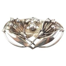 Large vintage Art Nouveau sterling silver lily flowers pin brooch