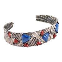 Beautiful sterling silver lapis lazuli jasper modernist cuff bracelet