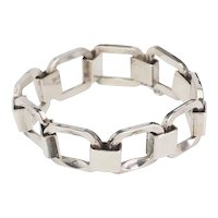 Chunky heavy vintage industrial links sterling silver bracelet by Uno A Erre