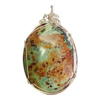 Enormous vintage green turquoise gemstone and sterling silver wire pendant