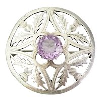 Scotland ornate sterling silver thistle flower round pin by Thomas Ebbutt