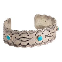 Large heavy Native American sterling silver turquoise signed RJ cuff bracelet