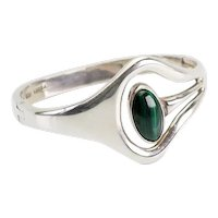 Superb modernist sterling silver and malachite vintage bracelet Mexico