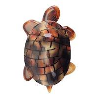 Vintage Lea Stein Paris brown plastic turtle tortoise large brooch pin