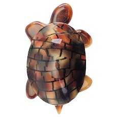 Vintage Lea Stein Paris brown plastic turtle tortoise large brooch pin