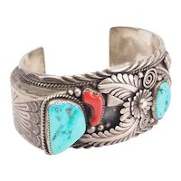 Amazing large heavy sterling silver turquoise coral cuff bracelet by A Hasteen