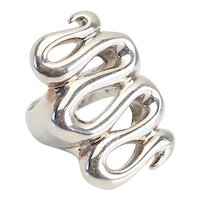 Vintage swirl snake sterling silver ring sz 6 by RLM Studio Robert Lee Morris
