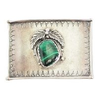 Vintage artisan sterling silver malachite Navajo signed belt buckle by SI
