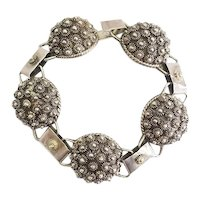 Gorgeous vintage sterling silver dome clusters bracelet by Iguala Mexico