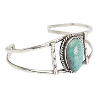 Gorgeous handmade Navajo sterling silver turquoise signed cuff bracelet BCD