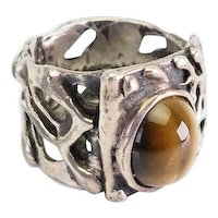 Handmade large sterling silver tiger eye gem abstract organic signed ring sz 11