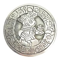 Large vintage sterling silver Mexico Aztec Maya tribal ethnic brooch pin by SCH