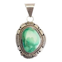 Vintage sterling silver green turquoise pendant by Ray Begay Navajo