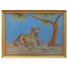 Nude woman with horse unique original vintage modernist signed painting
