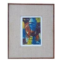 Woman smoking pipe colorful original vintage painting by Paul Beauvoir Haiti