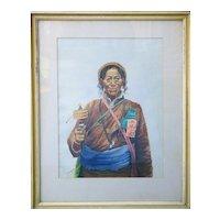 Tibetan beggar man ethnic attire Tibet vintage watercolor painting Goray Douglas