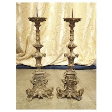 Pair of 17th Century Italian Silver Leaf Candlesticks