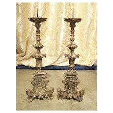 Pair of 17th Century Italian Silver Leaf Candlesticks