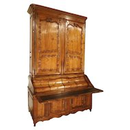 Rare 18th Century French Cherrywood Buffet Deux Corps Writing Desk