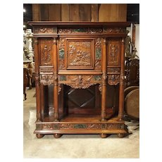 Period Napoleon III Walnut and Marble Buffet Cabinet from France, Circa 1860