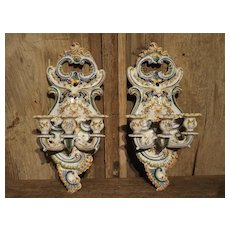 Pair of Antique Fourmaintraux Faience Wall Sconces from Desvres, France
