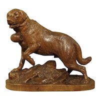19th Century Swiss Black Forest St. Bernard Dog Sculpture