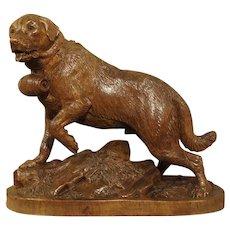 19th Century Swiss Black Forest St. Bernard Dog Sculpture