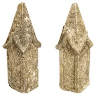 Pair of Small French Gothic Style Limestone Finials