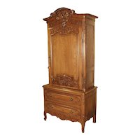 Carved Oak Wedding Cabinet and Chest of Drawers from Normandy, Early 1900s