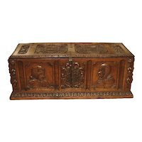 Antique Walnut Wood Renaissance Style Armorial Trunk from Spain, Early 19th C.