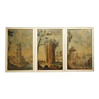 Set of Three 18th Century Italian Landscape Paintings, Oil on Canvas