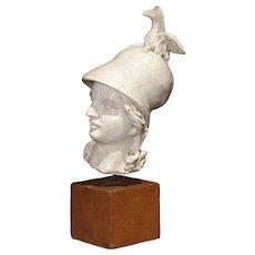 Antique Mounted Ceramic Head of Minerva, Italy, 19th Century
