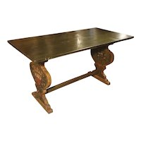 19th Century Painted Italian Table with Family Crests and Floral Motifs
