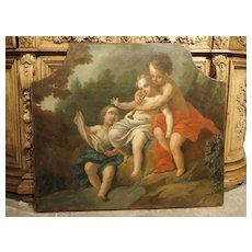 Antique Italian Oil on Canvas Trumeau Painting of Musical Cherubs, Circa 1750